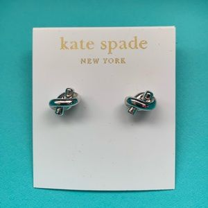 Kate Spade sailor knot silver statement earrings